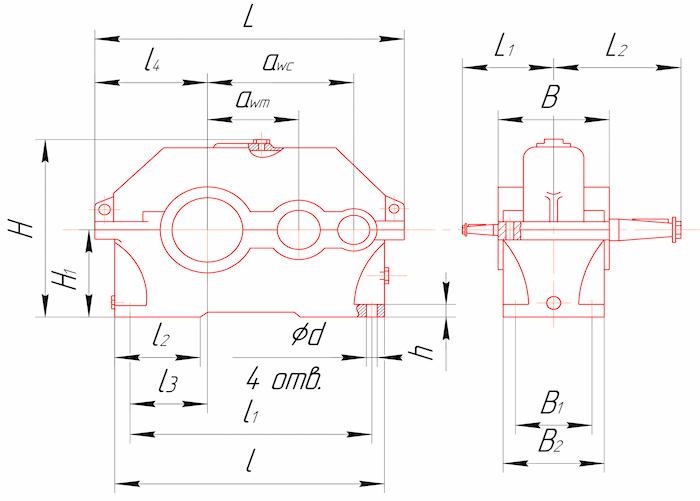 Габаритные и присоединительные размеры редукторов 1Ц2У-100, 1Ц2У-125, 1Ц2У-160, 1Ц2У-200, 1Ц2У-250