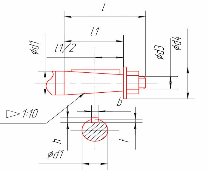 Размеры концов быстроходного и тихоходного валов редукторов 1Ц2У-100, 1Ц2У-125, 1Ц2У-160, 1Ц2У-200, 1Ц2У-250