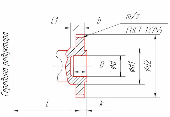 Размеры конца тихоходного вала в виде зубчатой полумуфты редукторов 1Ц2У-160, 1Ц2У-200, 1Ц2У-250