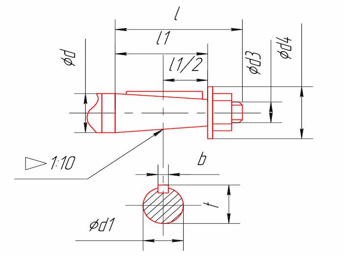 Размеры концов быстроходного вала редукторов 1ЦУ-100, 1ЦУ-160, 1ЦУ-200, 1ЦУ-250