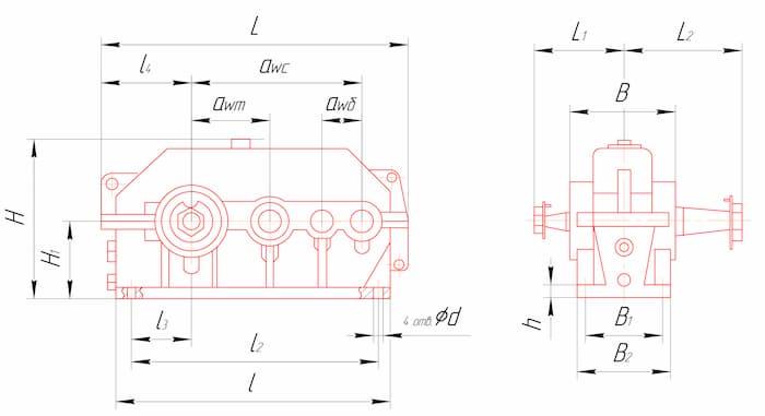 Габаритные и присоединительные размеры редукторов 1Ц3У-160, 1Ц3У-200, 1Ц3У-250