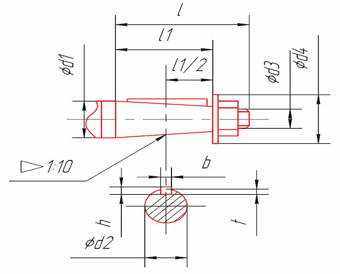 Размеры концов быстроходного и тихоходного концов валов редукторов 1Ц3У-160, 1Ц3У-200, 1Ц3У-250