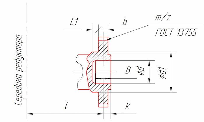 Размеры тихоходного конца вала в виде зубчатой полумуфты редукторов 1Ц3У-160, 1Ц3У-200, 1Ц3У-250