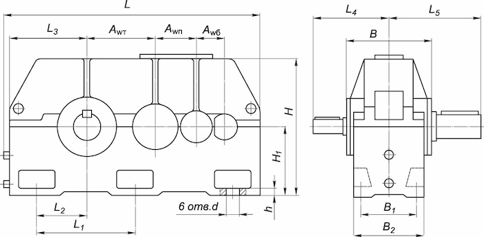Основные технические характеристики редукторов 1Ц3У
