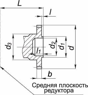 ПРИСОЕДИНИТЕЛЬНЫЕ РАЗМЕРЫ ЦИЛИНДРИЧЕСКИХ ВАЛОВ РЕДУКТОРОВ 1Ц3У, 1Ц3Н