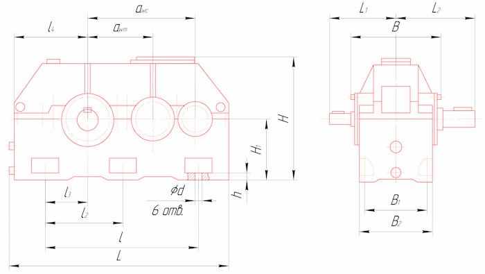 Габаритные и присоединительные размеры редукторов Ц2У-315Н, Ц2У-355Н, Ц2У-400Н