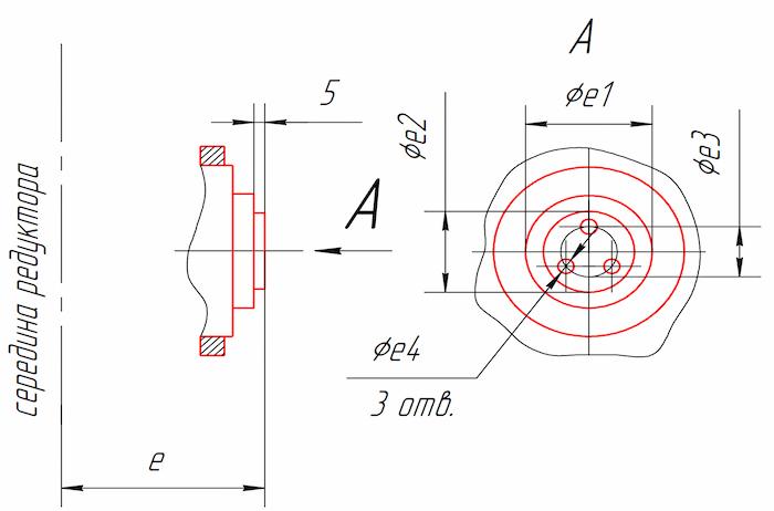 Размеры тихоходного конца вала для присоединения приборов и автоматики редукторов Ц2У-315Н, Ц2У-400Н