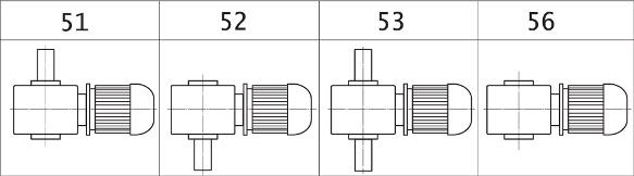 ВАРИАНТЫ СБОРКИ МОТОР-РЕДУКТОРОВ МЧ2 (вид сверху, червяк под колесом)