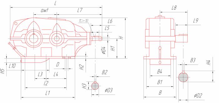 Габаритные и присоединительные размеры редукторов типа КЦ1-400, КЦ1-500