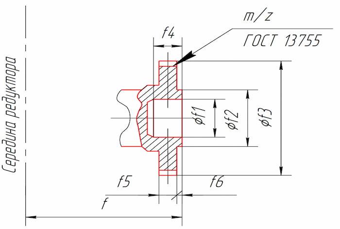 Размеры тихоходного конца вала в виде зубчатой полумуфты редукторов КЦ1-200, КЦ1-250, КЦ1-300