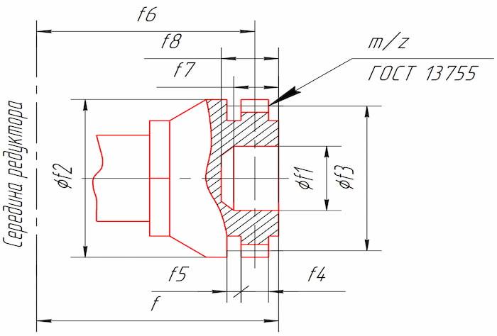 Размеры тихоходного конца вала в виде зубчатой полумуфты редукторов КЦ1-400, КЦ1-500