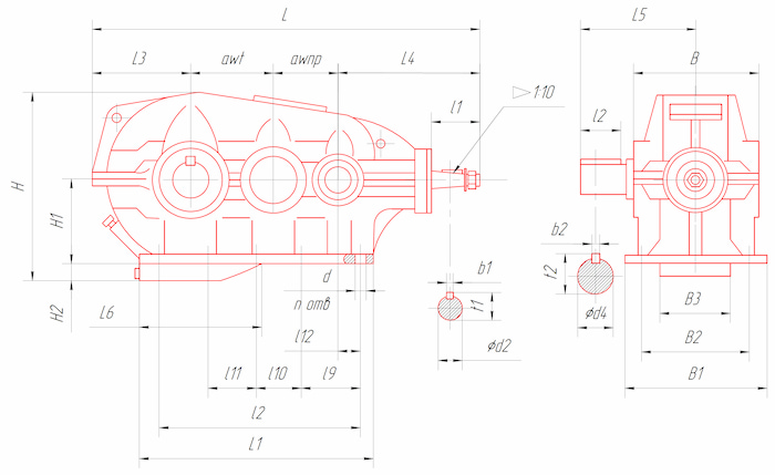 Габаритные и присоединительные размеры редукторов типа КЦ2-500, КЦ2-750, КЦ2-1000, КЦ2-1300