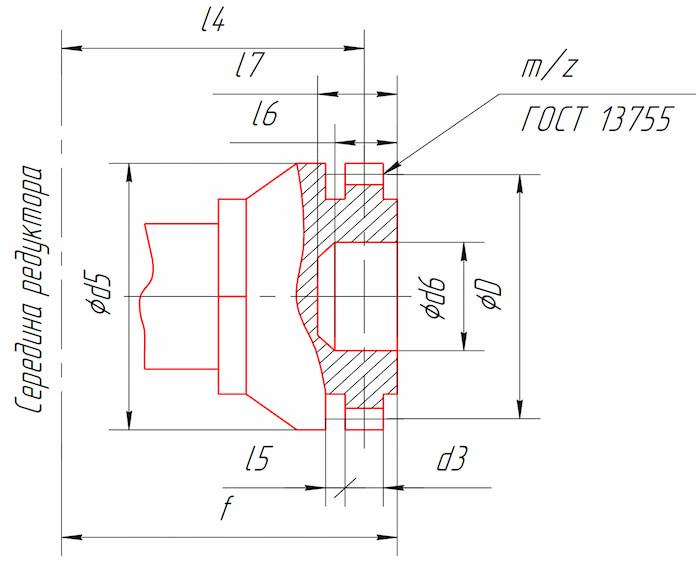 Размеры тихоходного конца вала в виде зубчатой полумуфты редукторов КЦ2-500, КЦ2-750, КЦ2-1000, КЦ2-1300