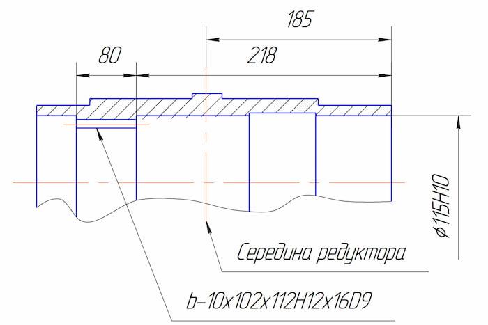 Размеры тихоходного шлицевого вала редуктора РЦД-400