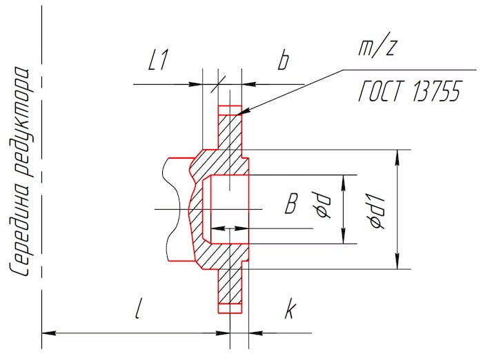 Размеры тихоходного конца вала в виде зубчатой полумуфты редукторов РЦД-250, РЦД-350, РЦД-400